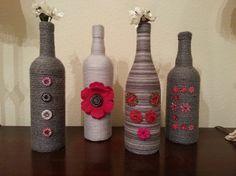 Yarn Wrapped Wine Bottles!  So cute!
