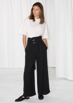 & Other Stories image 1 of Belted Wide Trousers in Black