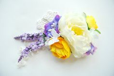 White peony. Bridal hair clip, comb, corsage.