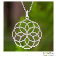 Blossoming Kaleidoscope - Handmade Thai Floral Silver Pendant Necklace $44.99