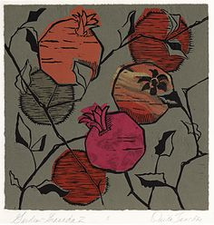 Ouida Touchon - New Mexican visual artist - Botanical woodcut with chine collé - You can see more about her and her work at her website http://www.ouidatouchon.com/index.html It is a great site to visit. S