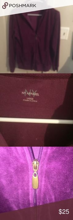 NY Apparel velour zipper jacket The color is true in first and second pic. Excellent condition. NY Apparel Jackets & Coats