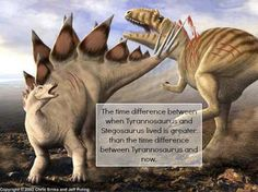 """The time difference between when Tyrannosaurus and Stegosaurus lived is greater than the time difference between Tyrannosaurus and now."""