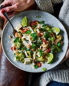 This prawn and tofu Pad Thai is a great weeknight dinner that's packed full of big flavours including lime, chilli and tamarind paste. Serve with extra lime wedges and a sprinkling of salted peanuts.