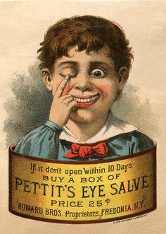 Pettit's Eye Salve Eyes Clipart, Eye Images, Vintage Labels, Vintage Ephemera, Vintage Postcards, Vintage Ads, Graphics Fairy, Unique Image, Antique Books