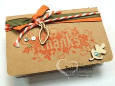 Gratitude Journal using Stampin' Up! Kraft Grid Jounal and Seasonally Scattered Thanks stamp by Patty Bennett