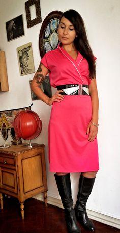 Bright Pink Vintage Disco Dress 70s by IndianYepaVintage on Etsy