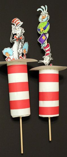 Cat in the Hat Hats from TP rolls.  I don't use TP rolls, but can use paper towel rolls or make rolls out of cardstock.  Print out included on this site