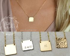 Gold Initial Necklace, Personalized Necklace, Gold Necklace, Delicate Necklace, bridesmaid gifts, gift for mom, new mom, new baby, SQUARE