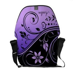 Shop Black & Purple Floral Scroll Messenger Bag created by TheInspiredEdge. Purple Love, All Things Purple, Shades Of Purple, Purple Bags, Custom Messenger Bags, Pack Your Bags, Looks Cool, Beautiful Bags, My Favorite Color