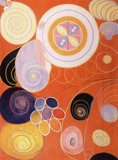 "Orange abstract painting art by Hilma af Klint, a Swedish artist and mystic. She belonged to a group called ""The Five"" and the paintingswere a visual representation of complex philosophical ideas. She was an innovator of 20th-century abstract art, one who worked with abstract imagery as early as 1906, arguably several years before Wassily Kandinsky, Piet Mondrian, Kazimir Malevich, Robert Delaunay and Frantisek Kupka, long considered the trailblazers of the movement."