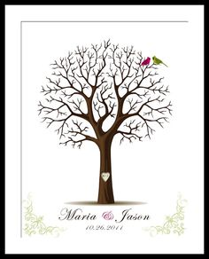 I love this idea - Thumbprint tree instead of a guest book for the reception.