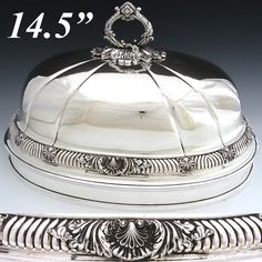Large Antique English Silver Plate Meat Dome, Bell: Ornate Seashell Accents #TJCreswickSheffield $716.00