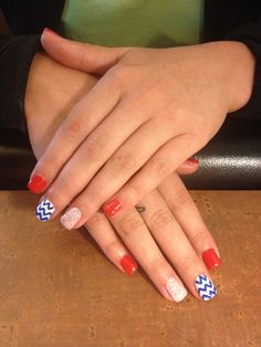 4th of July nails. Blue chevron.