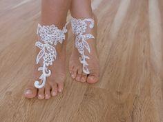 bridal anklet ivory Beach wedding barefoot sandals by WEDDINGHome, $28.00