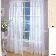This Super wide voile panel pair is a great value. Monte Carlo is a pair of elegant sheer tailored curtains with a bottom hem. Neat natural side hems and header White Sheer Curtains, Voile Curtains, Voile Panels, Window Panels, Kitchen Window Treatments, Living Room Shop, Window Dressings, Monte Carlo, Home Kitchens