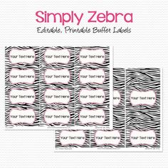 Candy Buffet Labels, Tent Cards, Pink and Zebra Print, Birthday Party Decoration, Bridal Shower Decor -Editable, Printable, Instant Download...