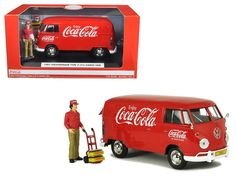1963 Volkswagen T1 Coca Cola Cargo Van with Delivery Driver 1/24 Diecast Model Car by Motor City Classics