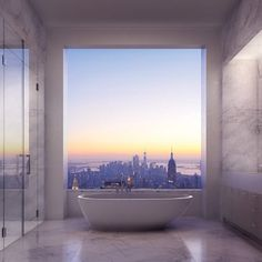 The 432 park avenue sky scraper is situated in new york and it is the tallest residential building of the world. here are some 432 park avenue interiors which you should definitely see! 432 Park Avenue, 5th Avenue, Appartement New York, Future House, My House, Park Avenue Apartment, Master Suite Bathroom, Bathroom Bath, Design Bathroom