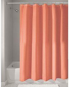 InterDesign Mildew-Free Water-Repellent Fabric Shower Curtain 72x72 Inch Coral #InterDesign