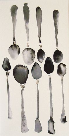 watercolor spoons