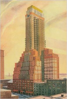 1929 design for a 40 story skyscraper by Thompson and Churchill