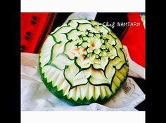 Basic flower bouquet design for beginner (แกะสลักแตงโม) l By chef namtarn - YouTube
