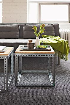 diy Metal and Wood Table- can't decide if I like these or not . . .