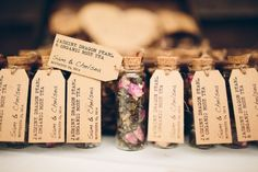 This is a great idea for wedding favor. Tea in a small jar or vial. You could diy this and make the tea yourself.