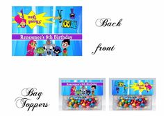 Teen Titans Bag Toppers, Gift Tags, Teen Titans To Go