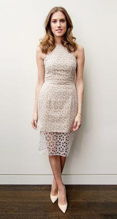 Daytime ceremonies traditionally start in the morning, so you're free to dress more casually. Think business-chic attire with a sophisticated flair. take Allison Williams in this Alexander McQueen dress, for example. It's elegant, and the laser-cut detail adds a little extra pizazz without being too loud.