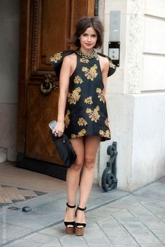 Miroslava Duma Freelance Fashion editor and journalist attending Jean Paul Gaultier couture show on Rue St Martin
