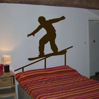 Snowboarder on the Rail - Wall Decals  Boys room