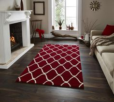 Elegant Soft Red Wool Area Rugs - Red
