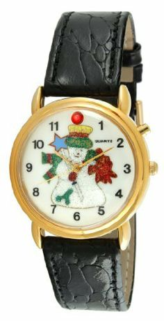 """Trax TR849 Frosty the Snowman Singing Christmas Black Leather Musical Watch Viva Time Corp.. $29.99. Frosty the Snowman dial. Adjustable black leather strap. Plays """"Jingles Bells,"""" """"Santa Claus is Coming to Town"""", and """"Wish You a Merry Christmas"""" melodies. Gold tone case and hands"""