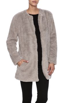 This ultra soft and cozy lined coat will be your go to topper of the season. Collarless with a hook front closure.   Merrill Coat by BB Dakota. Clothing - Jackets, Coats & Blazers - Faux Fur & Fur Syracuse, New York
