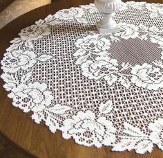 Cottage Rose Lace Table Topper - Lace Doilies & Accents - Roses And TeacupsTea Rose Cottage Gift Bag with Hang Tag - Roses And Teacups Lay flat or hang to dry. Touch up with cool iron if desired. Crochet Table Runner Pattern, Crochet Doily Patterns, Crochet Doilies, Crochet Lace, Filet Crochet, Crochet Round, Crochet Chart, Cottage Rose, Lace Table