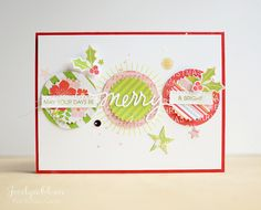 Merry and Bright stamp set, Julie Ebersole for Ellen Hutson, card by Jocelyn Olson