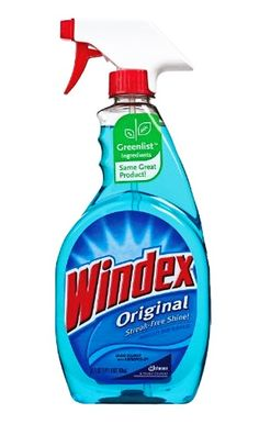DIY replicate windex.      Here's what you need:  1 Empty Windex Spray Bottle  1/8 Cup (1oz) White Ammonia  1/4 Cup (4oz) Isopropyl Rubbing Alcohol  1 Drop Laundry Detergent  Water - To Fill The Bottle