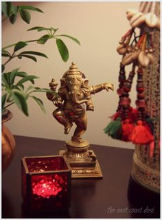 the east coast desi: Home decor Ethnic Home Decor, Indian Home Decor, Dancing Ganesha, Indian Interior Design, Ganapati Decoration, Buddha, Indian Interiors, Puja Room, Indian Homes