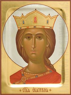 Order an icon of St Catherine painted according to your preferences in the Icon Painting Studio of St Elisabeth Convent Byzantine Icons, Byzantine Art, Saint Catherine Of Alexandria, Sainte Cecile, Paint Icon, Painting Studio, Shades Of Gold, Orthodox Icons, Semi Precious Gemstones