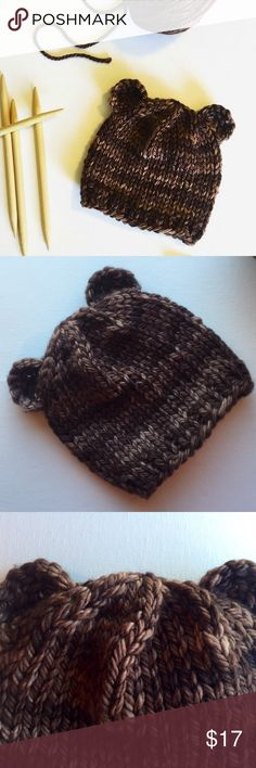 Bear beanie Newborn or baby size Handknit bear beanie made with superwash merino wool. Made to order. Please specify size when ordering RootKnits Accessories Hats