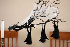 Halloween hanging branch centerpiece
