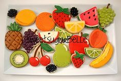 Peaches, pears, plums and such! Lovely fruit cookies from Sugarbelle! No Bake Sugar Cookies, Fruit Cookies, Iced Cookies, Cute Cookies, Royal Icing Cookies, Cut Out Cookies, Pineapple Cookies, Pavlova, Cookie Designs