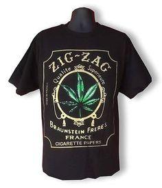 "NEW MEN'S PRINTED BLACK T-SHIRT ""WEED MARIJUANA"" Cigarette ZIG JAG MMA FUNNY"