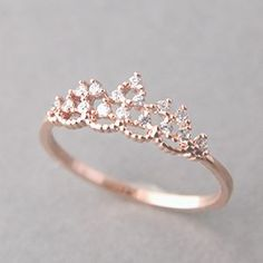 Gold Jewelry CZ Princess Tiara Ring Rose Gold - Kellinsilver - We are jewelry online store for all things simple, sparkly and exciting. Our favorite things include cross ring and sterling silver jewelry. Cute Rings, Pretty Rings, Beautiful Rings, Simple Rings, Simple Promise Rings, Simple Rose, Zierlicher Ring, Ring Set, Solitaire Ring