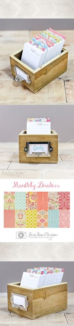 Vintage Floral + Chevron Colorful Daily Journal Box & Perpetual Calendar | Such a lovely and simple idea ~ each day you record on one line what happened that day: baby's firsts, big news, a new idea, what made your heart sing.