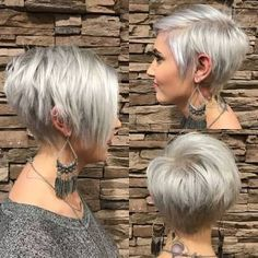 Image result for asymmetrical pixie haircuts with platinum hair