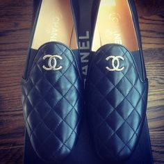 mens Chanel quilted loafers