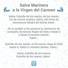 Salve marinera a la Virgen del Carmen Social Security, Cards, Religious Pictures, Pray, Prayers, Spiritual, Map, Playing Cards, Maps